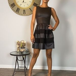 RED Saks Fith ave Black faux leather Dress